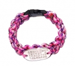 Paracord armband dogtag tiny 3 cm zilver of rose goud