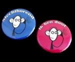 Button doof of slechthorend aapje set kleine buttons 2 stuks