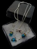 Zilveren sieradenset 925 meisjes engel glaskralen en swarovski kristal