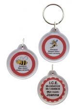Medische sleutelhanger bijen of wespen allergie eigen tekst 2-zijde
