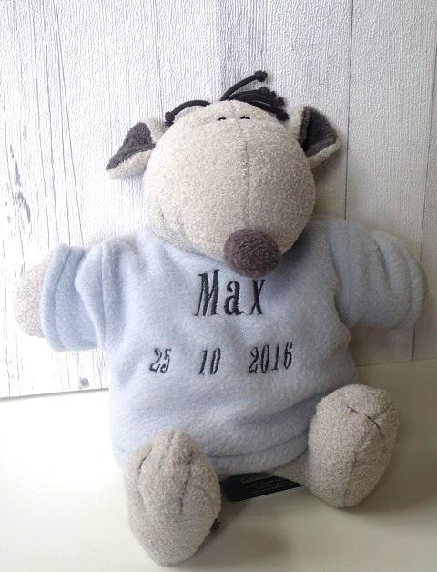 Babyknuffel geborduurd met naam muis merk Rock Star Baby by Nice