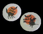 Buttons met naam Halloween groot 7,5cm per stuk diverse design