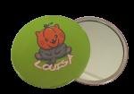 Buttons met naam Halloween SPIEGEL groot 7,5cm per stuk diverse design