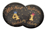 Button verjaardag sparkle met naam, 1 stuk 7,5cm