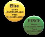 """Buttons met naam model """"kleuren"""", per stuk 5cm"""