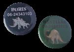 Buttons dinosaurus met naam, 1 stuk 5cm