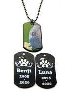 In memorial dogtag hond of poes gegraveerd AFGEDICHT met transparante sticker of hars