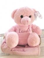Kraampakket beer en slab met naam roze blauw