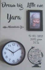 Geboortebord adventure 40 x 60 ronde klok
