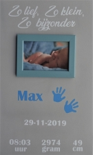 Geboortebord handjes of voetjes 30 x 50 diverse kleuren met fotolijstje