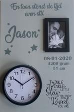 Geboortebord twinkle twinkle... 40 x 60 ronde klok