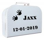 Geboortekoffertje met naam en/of afbeelding blauw