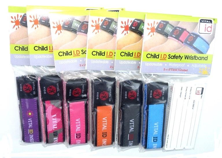 Sos polsbandje voor kinderen klittenbandsluiting en set 2 ID Cards