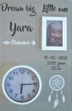 Geboortebord dromenvanger 40 x 60 ronde klok