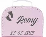 Geboortekoffertje met naam en diverse afbeeldingen meisjes