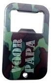 Dog tag flesopener gegraveerd camo donker groen inclusief ketting of sleutelhanger