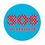 Button SOS met telefoonnummer 5 cm per stuk