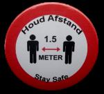 Button Houd afstand stay safe 5cm of 7,5 cm 1 stuk diverse uitvoeringen