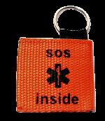 Sleutelhanger medisch teken met geponste tag binnenzijde