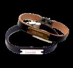 Leren armband met gegraveerd naamplaatje op uw maat gemaakt