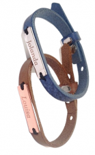 Sos armbanden leer Cuoio voor kinderen met naamplaatje