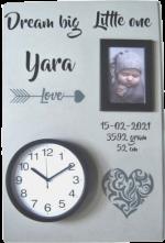 Geboortebord tribal heart 40 x 60 ronde klok