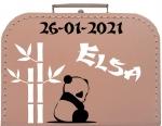 Geboortekoffertje panda met bamboe gepersonaliseerd diverse kleuren