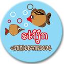 """Buttons met naam model """"vissen"""", 4 stuks  3,8cm"""