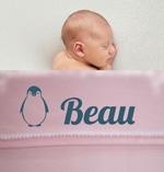 Babydeken met naam fleece soft touch leuke dieren afbeeldingen