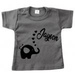 Baby t-shirt bedrukt olifantje/hartjes en naam