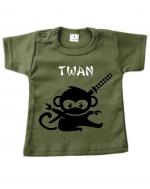 Baby t-shirt bedrukt samoerai aapje en naam
