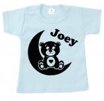 Baby t-shirt bedrukt beer op maan met naam