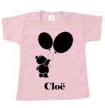 Baby t-shirt bedrukt beer met ballonnen en naam