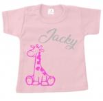 Baby t-shirt bedrukt girafje simpel en naam