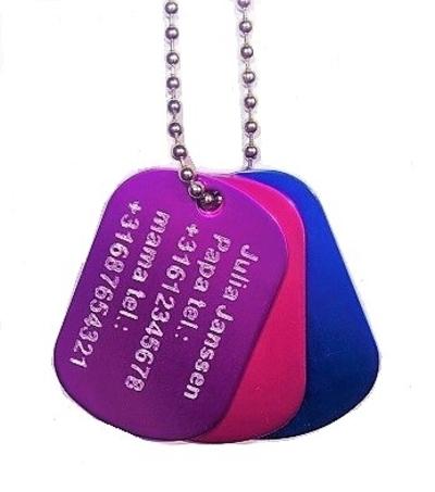 Identiteitsplaatje mini in kleur met gratis silencer GEGRAVEERD