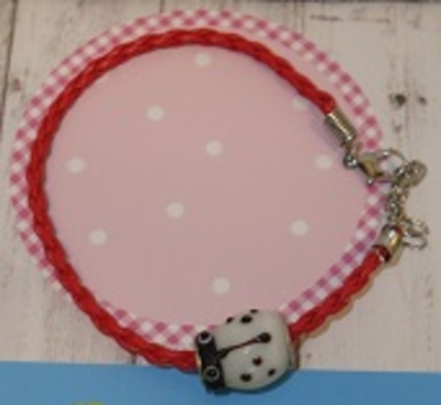 Armbanden met murano glas lieveheersbeestje kraal op=op