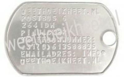 Kofferlabel dogtag extra groot