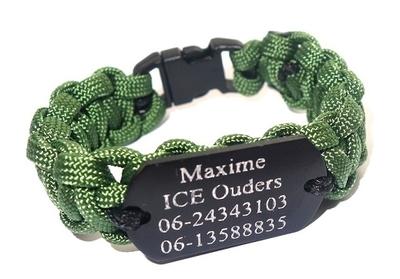 Paracord armband dogtag mini 3,8 cm zwart RVS gegraveerd
