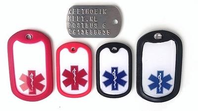 Identiteitsplaatje mini medisch teken met gratis silencer achterkant geponst
