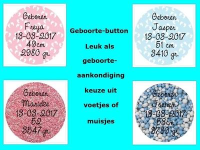 """Buttons met naam model """"geboorte"""", 4 stuks"""