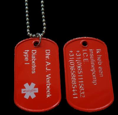 Identiteitsplaatje medisch rood 2-zijde gravure