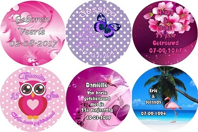 button met spiegel 7,5 cm per stuk diverse designs