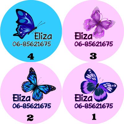 """Buttons met naam model """"vlinders"""", 4 stuks div.designs 5cm"""