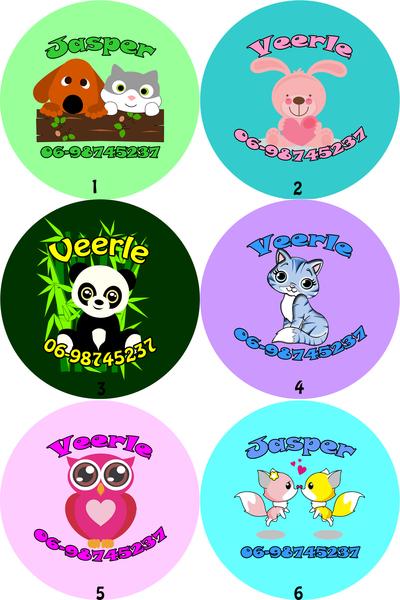 """Buttons met naam model """"schattig"""", 4 stuks 5cm"""