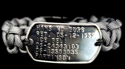 Paracord dogtag armband medisch RVS geponst en gegraveerd