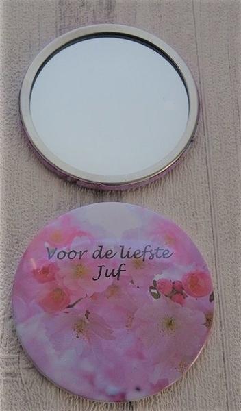 Button met spiegel voor de liefste juf 7,5 cm