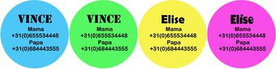 """Buttons met naam model """"felle kleuren"""", 4 stuks 5cm"""