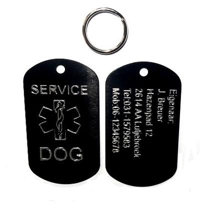 Dogtag service dog aluminium 2 zijde gegraveerd inclusief sleutelringsetje