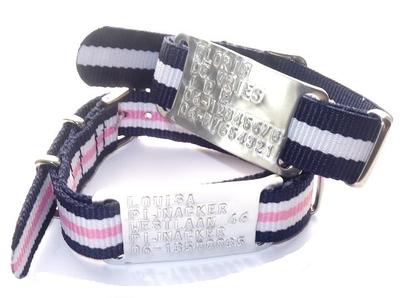 Sos armbanden voor kinderen/tieners met geponst plaatje