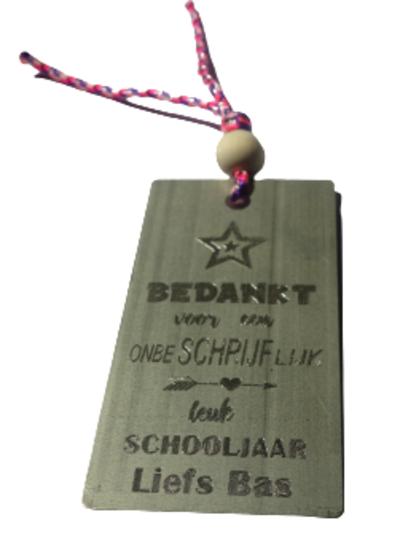 Boekenlegger afscheid leerkracht met je naam